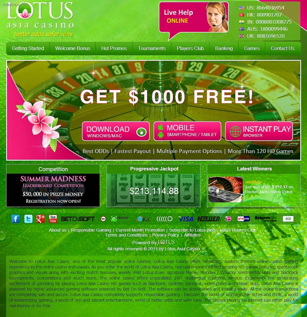 Lotus Asia Casino No Deposit Bonus Codes 2021