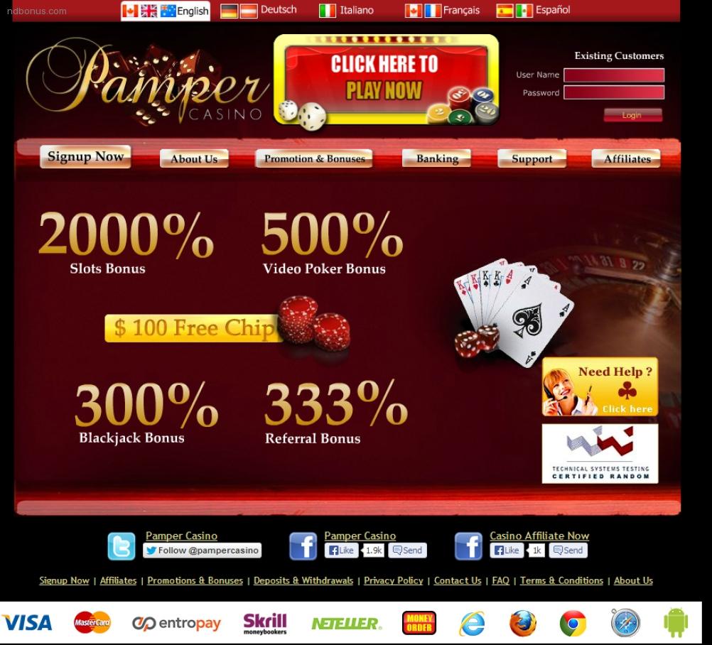 pamper casino gaminator bonus